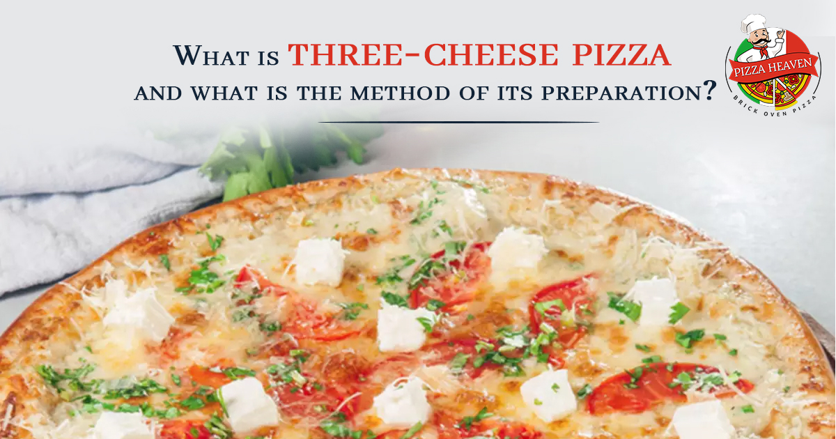 Three cheese pizza and its preparation method